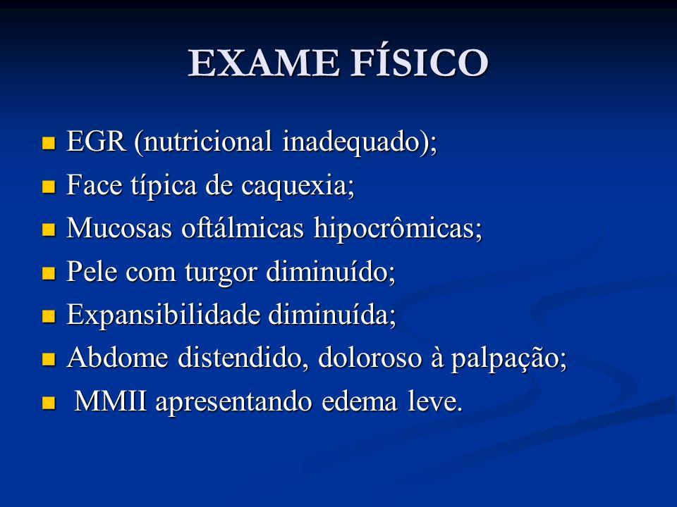 EXAME FÍSICO EGR (nutricional inadequado); EGR (nutricional inadequado); Face típica de caquexia; Face típica de caquexia; Mucosas oftálmicas hipocrôm