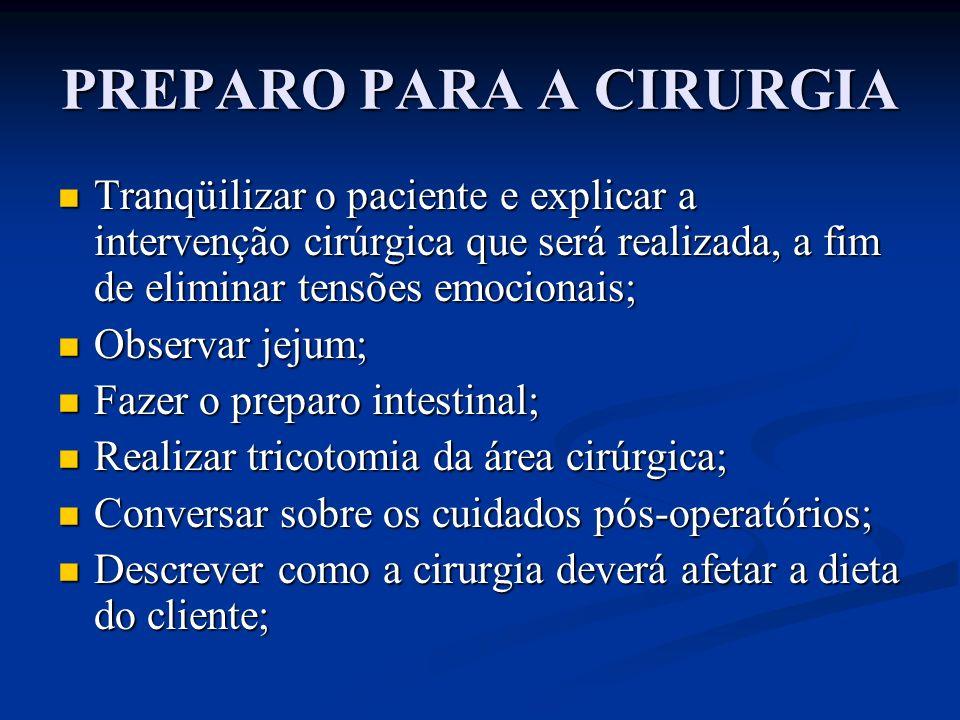 PREPARO PARA A CIRURGIA Tranqüilizar o paciente e explicar a intervenção cirúrgica que será realizada, a fim de eliminar tensões emocionais; Tranqüili