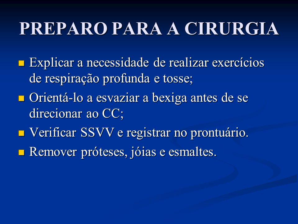 PREPARO PARA A CIRURGIA Explicar a necessidade de realizar exercícios de respiração profunda e tosse; Explicar a necessidade de realizar exercícios de