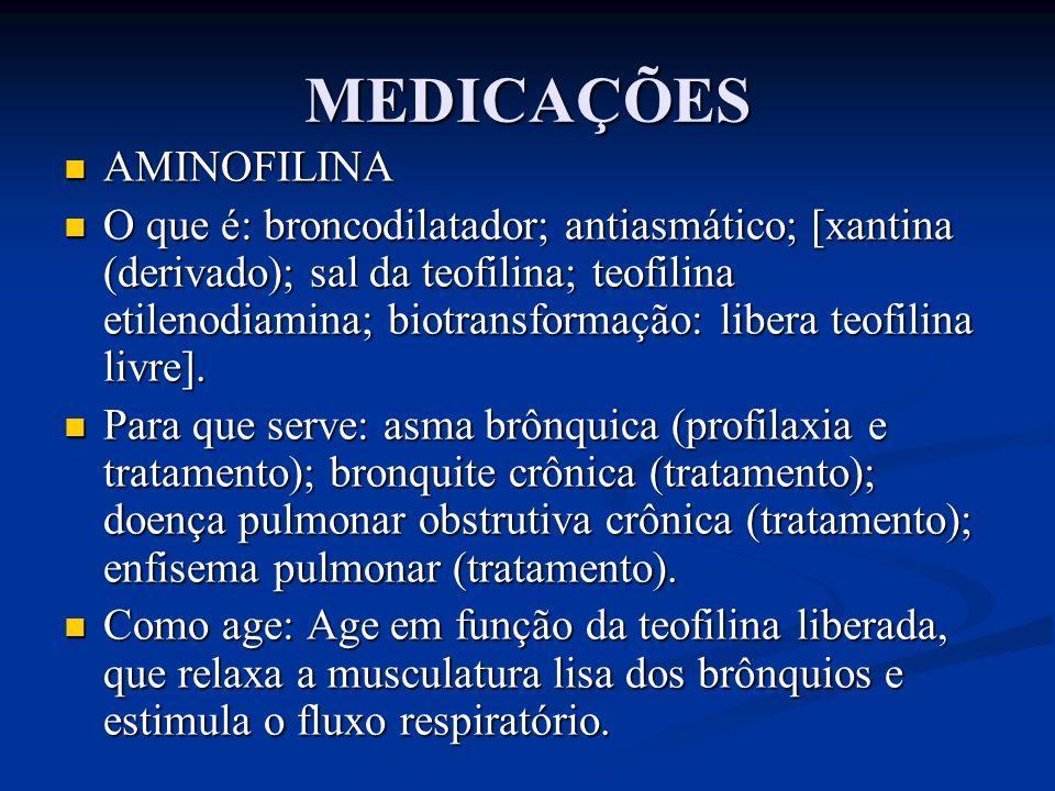 MEDICAÇÕES AMINOFILINA AMINOFILINA O que é: broncodilatador; antiasmático; [xantina (derivado); sal da teofilina; teofilina etilenodiamina; biotransfo