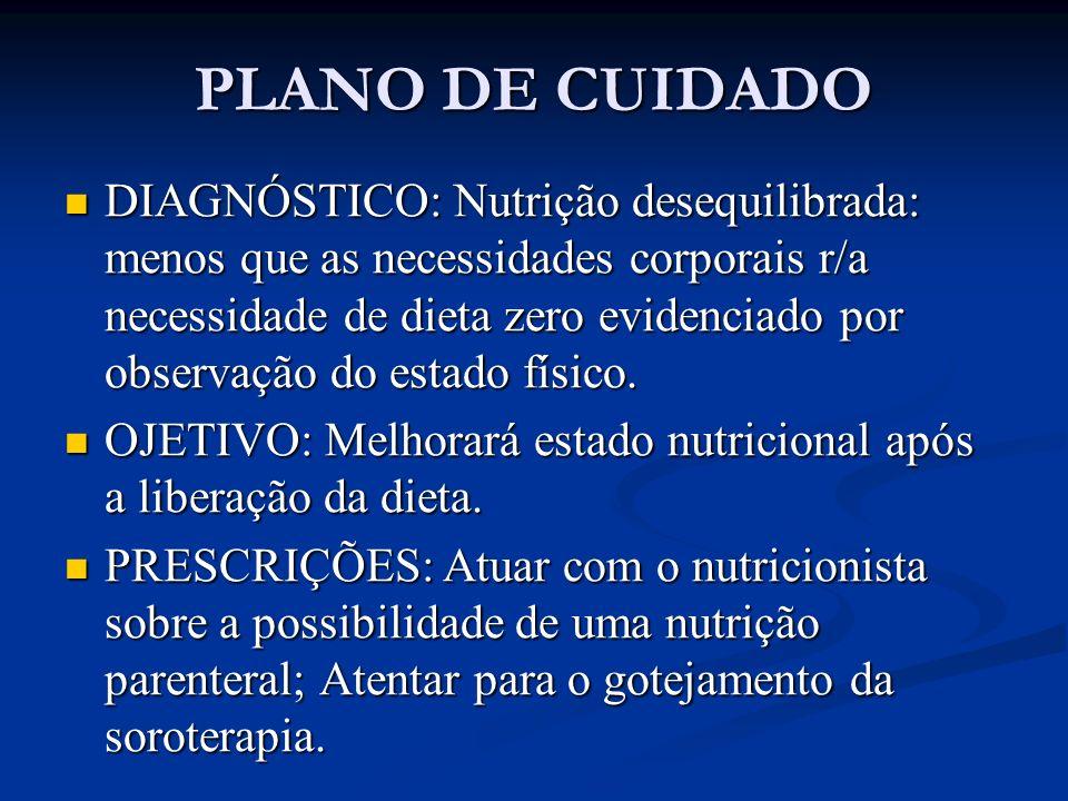 PLANO DE CUIDADO DIAGNÓSTICO: Risco de infecção r/a procedimentos invasivos.