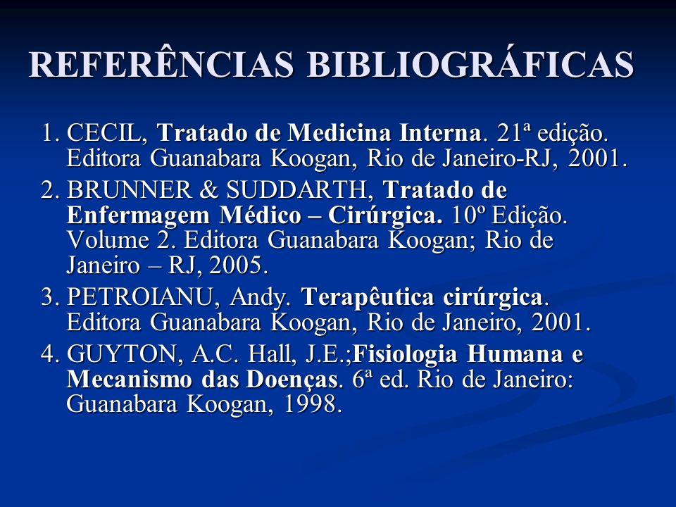 REFERÊNCIAS BIBLIOGRÁFICAS 1. CECIL, Tratado de Medicina Interna. 21ª edição. Editora Guanabara Koogan, Rio de Janeiro-RJ, 2001. 2. BRUNNER & SUDDARTH