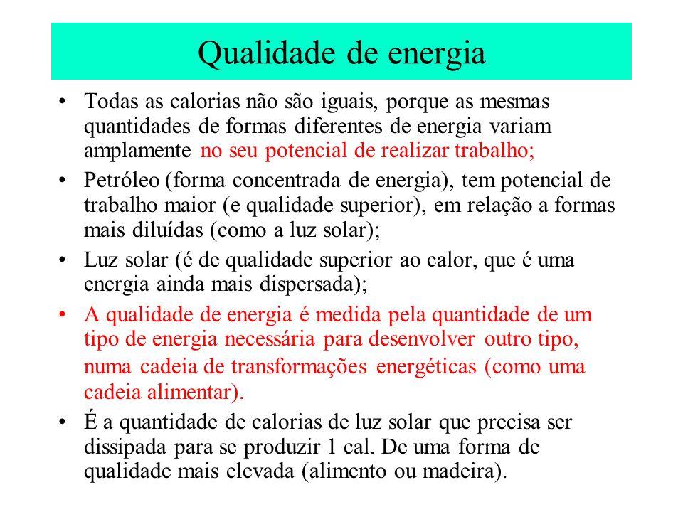 Qualidade de energia Todas as calorias não são iguais, porque as mesmas quantidades de formas diferentes de energia variam amplamente no seu potencial