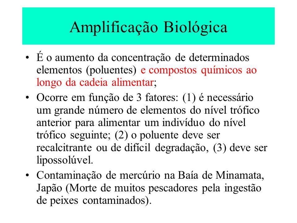 É o aumento da concentração de determinados elementos (poluentes) e compostos químicos ao longo da cadeia alimentar; Ocorre em função de 3 fatores: (1