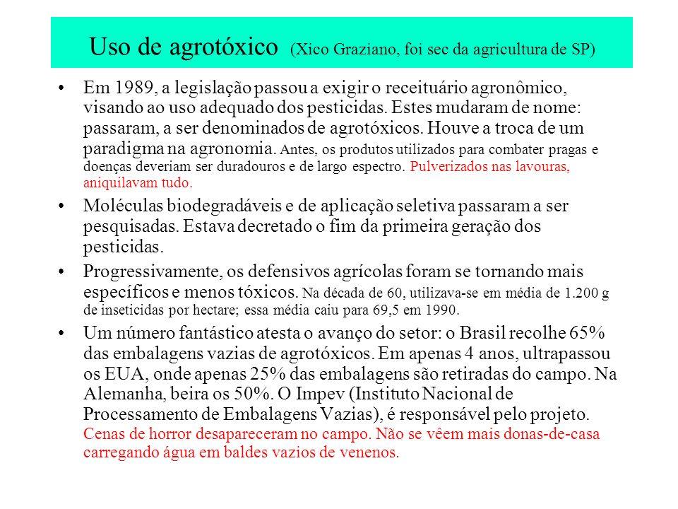 Uso de agrotóxico (Xico Graziano, foi sec da agricultura de SP) Em 1989, a legislação passou a exigir o receituário agronômico, visando ao uso adequad