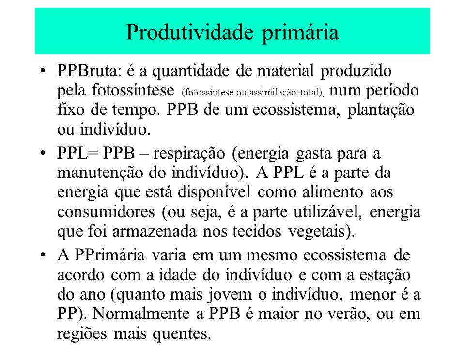 Outras produtividades PL da comunidade: é a taxa de armazenamento da matéria orgânica não utilizada pelos heterótrofos (ou seja, a PPL – o consumo heterotrófico), durante certo período (1 ano ou a estação de crescimento).