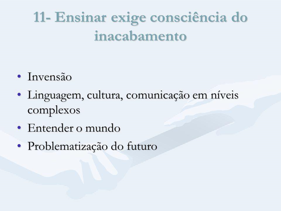 11- Ensinar exige consciência do inacabamento InvensãoInvensão Linguagem, cultura, comunicação em níveis complexosLinguagem, cultura, comunicação em níveis complexos Entender o mundoEntender o mundo Problematização do futuroProblematização do futuro