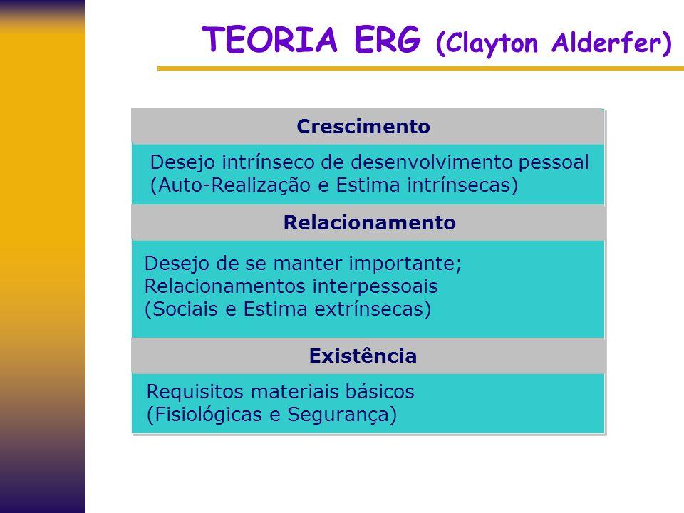 TEORIA ERG (Clayton Alderfer) Existência Relacionamento Crescimento Requisitos materiais básicos (Fisiológicas e Segurança) Desejo de se manter import