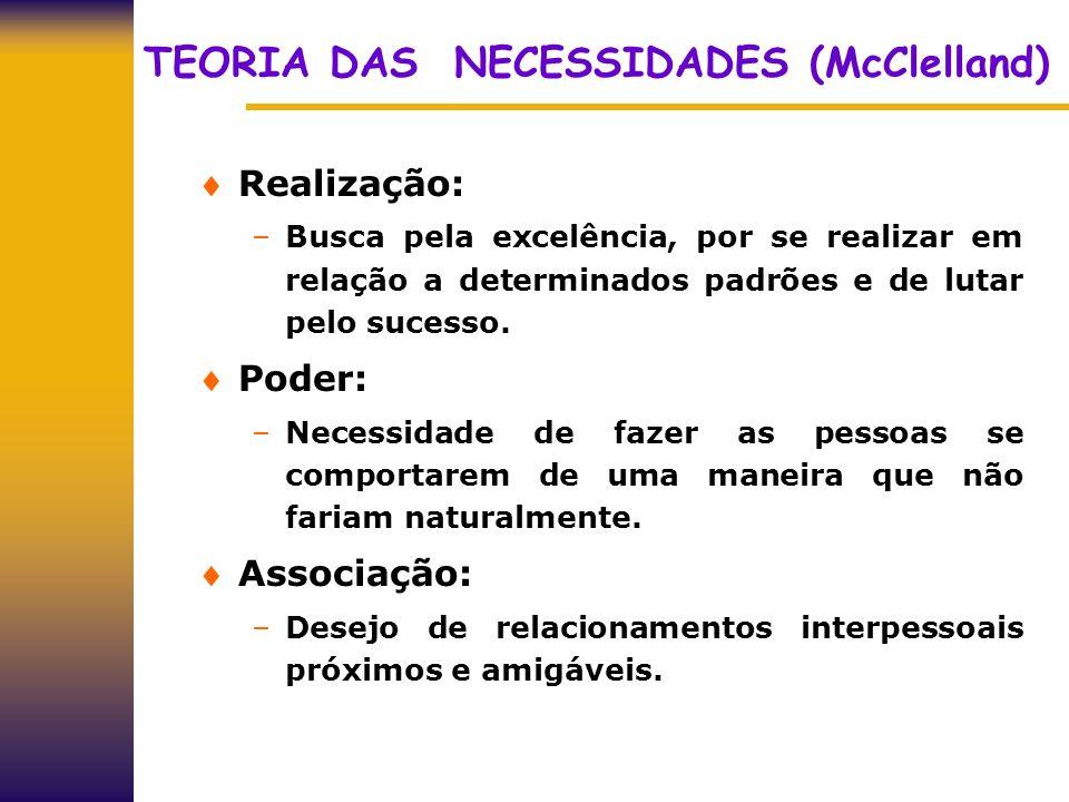 TEORIA DAS NECESSIDADES (McClelland) Realização: –Busca pela excelência, por se realizar em relação a determinados padrões e de lutar pelo sucesso. Po