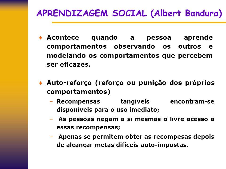 APRENDIZAGEM SOCIAL (Albert Bandura) Acontece quando a pessoa aprende comportamentos observando os outros e modelando os comportamentos que percebem s
