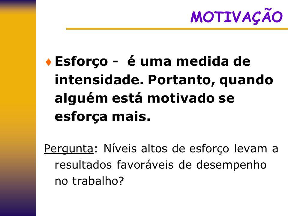 MOTIVAÇÃO Esforço - é uma medida de intensidade. Portanto, quando alguém está motivado se esforça mais. Pergunta: Níveis altos de esforço levam a resu