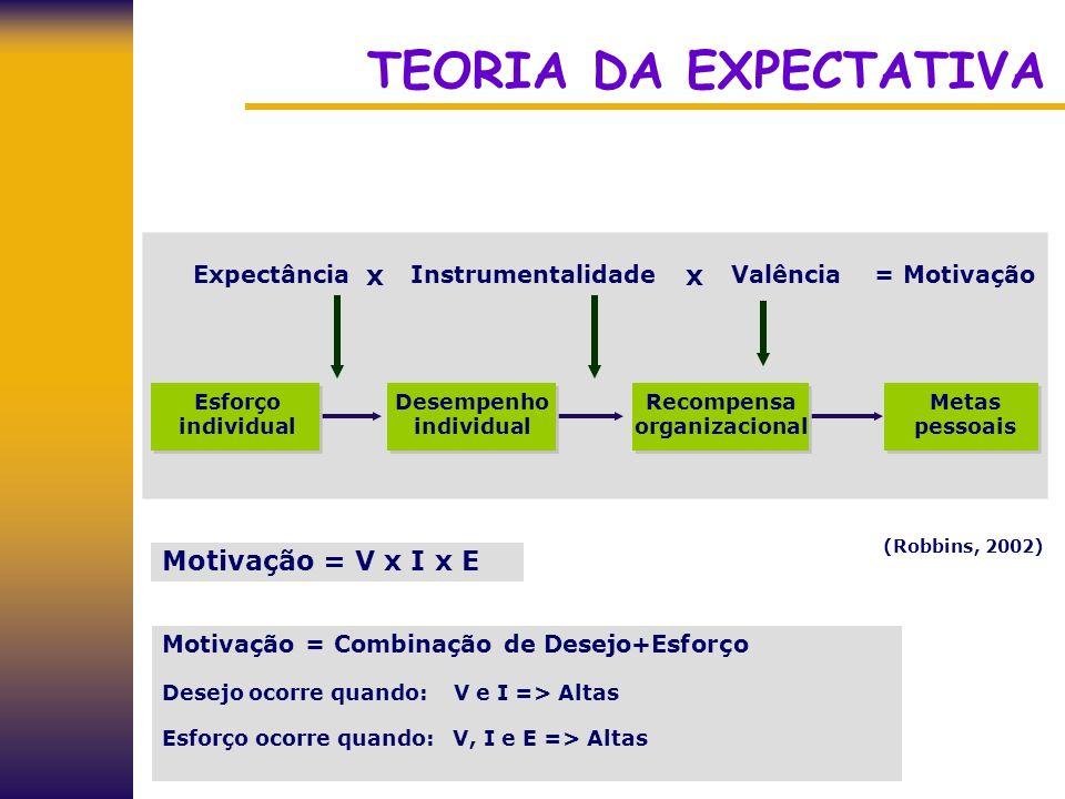 Desempenho individual Recompensa organizacional Metas pessoais TEORIA DA EXPECTATIVA Esforço individual ExpectânciaInstrumentalidadeValência= Motivaçã