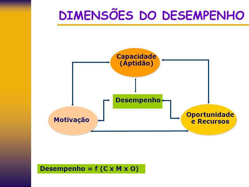 DIMENSÕES DO DESEMPENHO Capacidade (Aptidão) Motivação Oportunidade e Recursos Desempenho Desempenho = f (C x M x O)