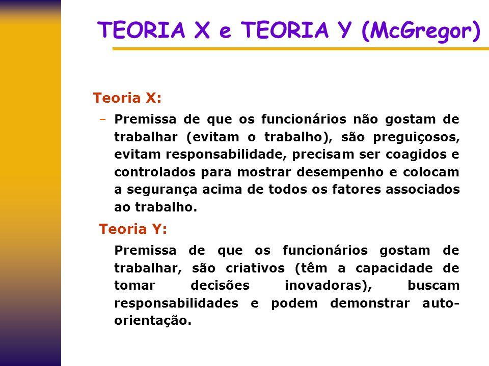 TEORIA X e TEORIA Y (McGregor) Teoria X: –Premissa de que os funcionários não gostam de trabalhar (evitam o trabalho), são preguiçosos, evitam respons