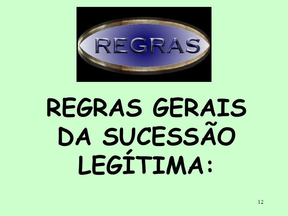 12 REGRAS GERAIS DA SUCESSÃO LEGÍTIMA: