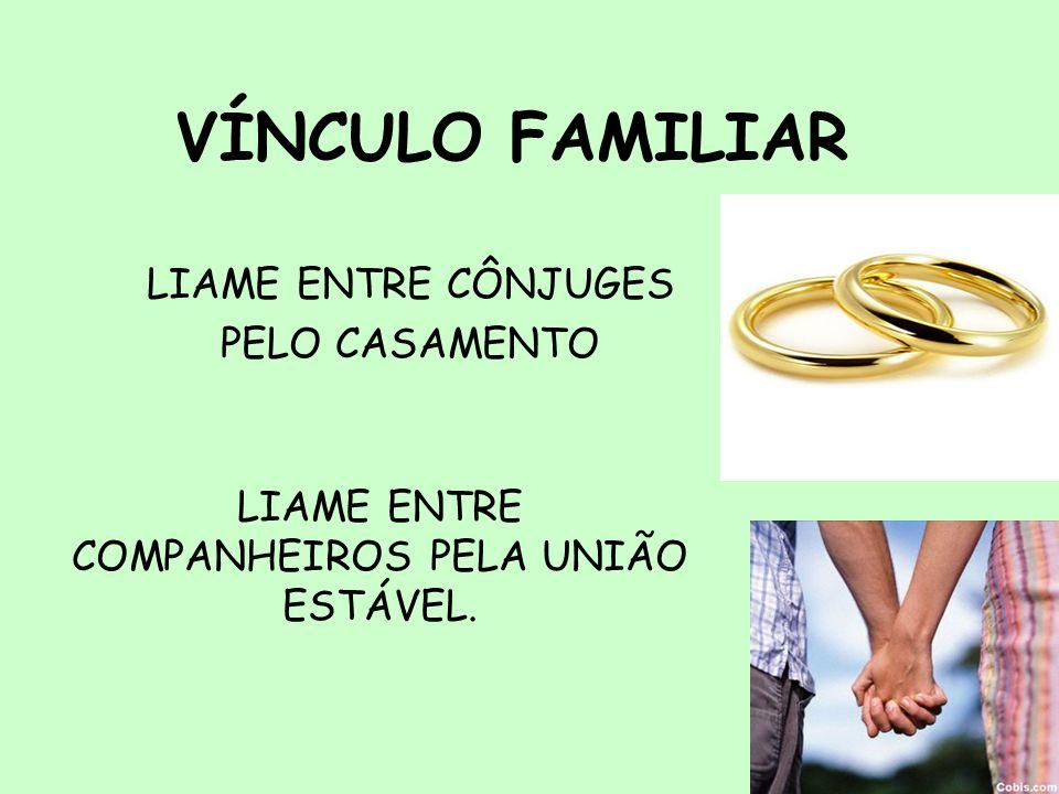 4 VÍNCULO FAMILIAR LIAME ENTRE CÔNJUGES PELO CASAMENTO LIAME ENTRE COMPANHEIROS PELA UNIÃO ESTÁVEL.