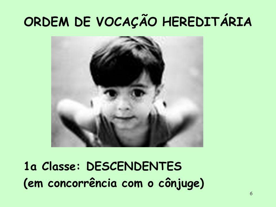 6 ORDEM DE VOCAÇÃO HEREDITÁRIA 1a Classe: DESCENDENTES (em concorrência com o cônjuge)