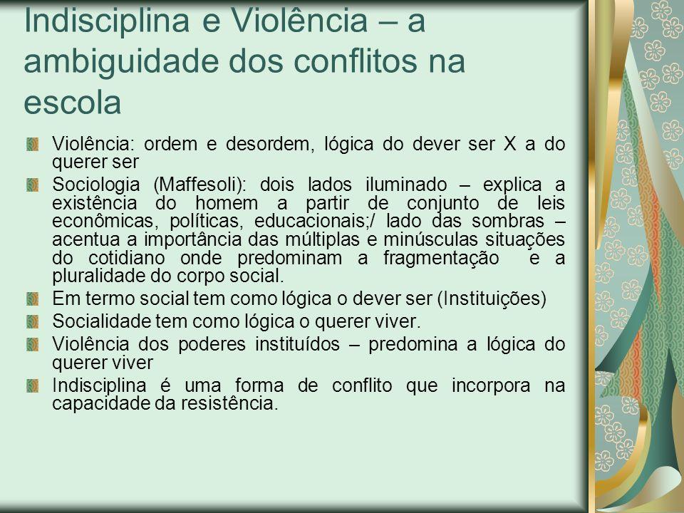 Indisciplina e Violência – a ambiguidade dos conflitos na escola Violência: ordem e desordem, lógica do dever ser X a do querer ser Sociologia (Maffes