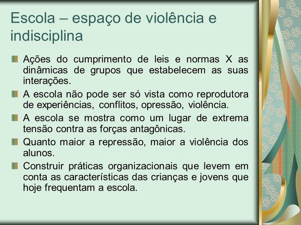 Escola – espaço de violência e indisciplina Ações do cumprimento de leis e normas X as dinâmicas de grupos que estabelecem as suas interações. A escol