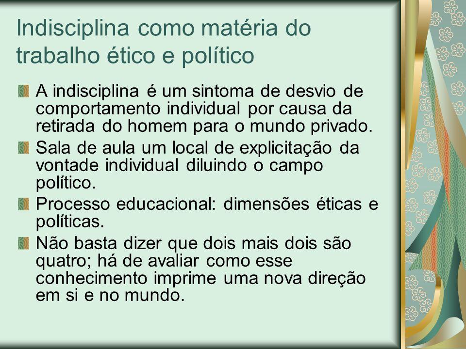 Indisciplina como matéria do trabalho ético e político A indisciplina é um sintoma de desvio de comportamento individual por causa da retirada do home