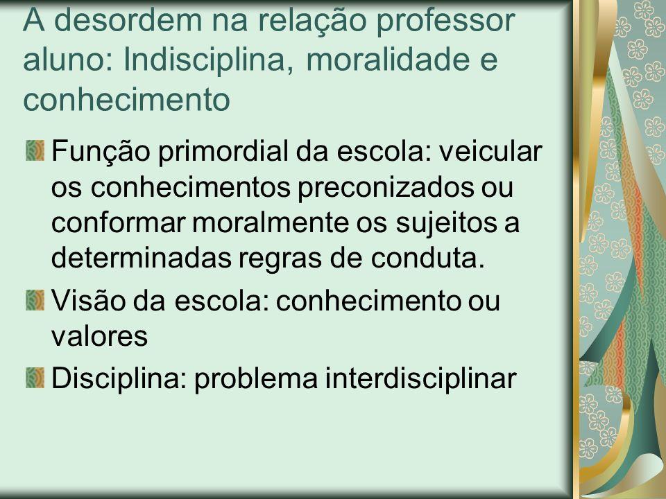 A desordem na relação professor aluno: Indisciplina, moralidade e conhecimento Função primordial da escola: veicular os conhecimentos preconizados ou