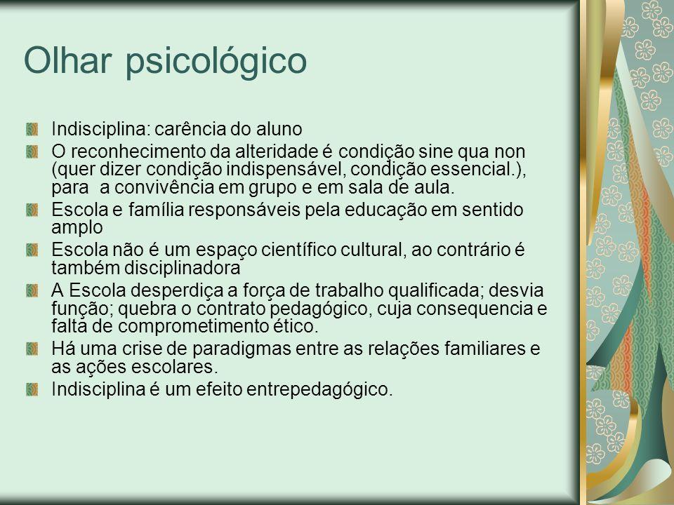 Olhar psicológico Indisciplina: carência do aluno O reconhecimento da alteridade é condição sine qua non (quer dizer condição indispensável, condição