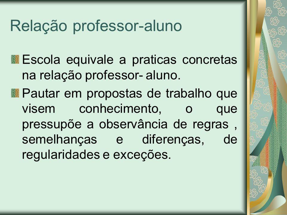 Relação professor-aluno Escola equivale a praticas concretas na relação professor- aluno. Pautar em propostas de trabalho que visem conhecimento, o qu