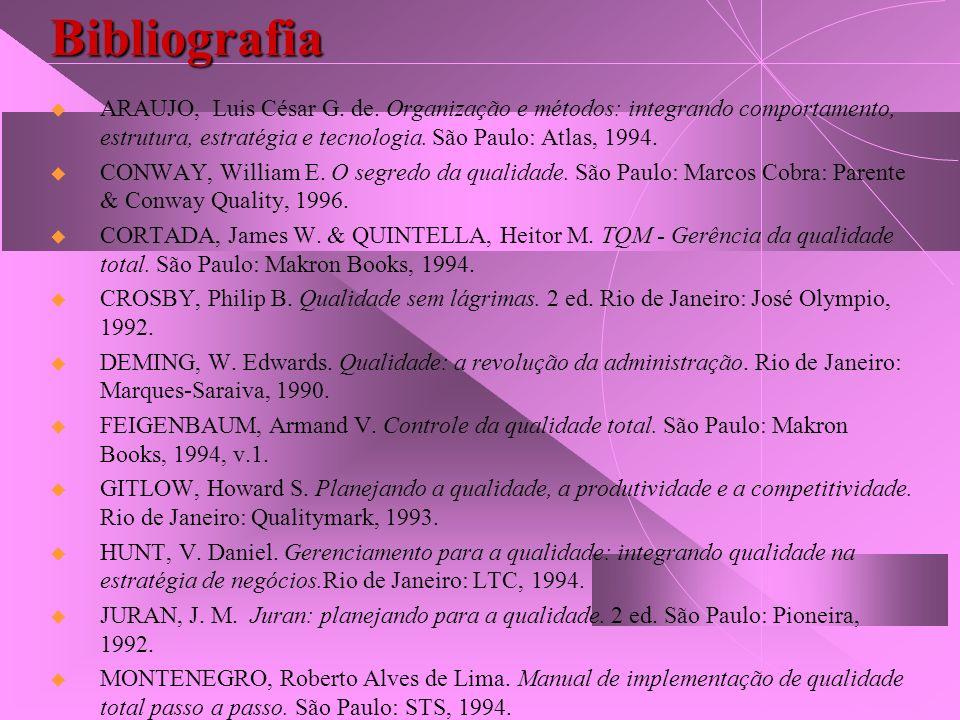 Bibliografia ARAUJO, Luis César G. de. Organização e métodos: integrando comportamento, estrutura, estratégia e tecnologia. São Paulo: Atlas, 1994. CO