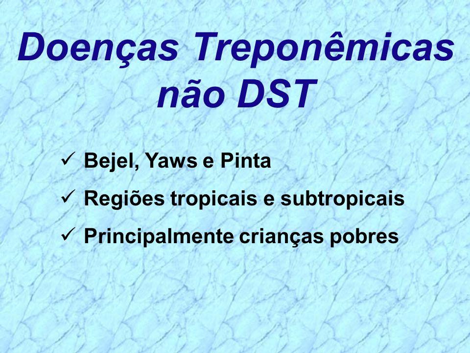 Doenças Treponêmicas não DST Bejel, Yaws e Pinta Regiões tropicais e subtropicais Principalmente crianças pobres