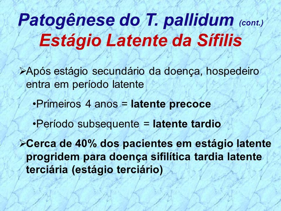 Após estágio secundário da doença, hospedeiro entra em período latente Primeiros 4 anos = latente precoce Período subsequente = latente tardio Cerca d