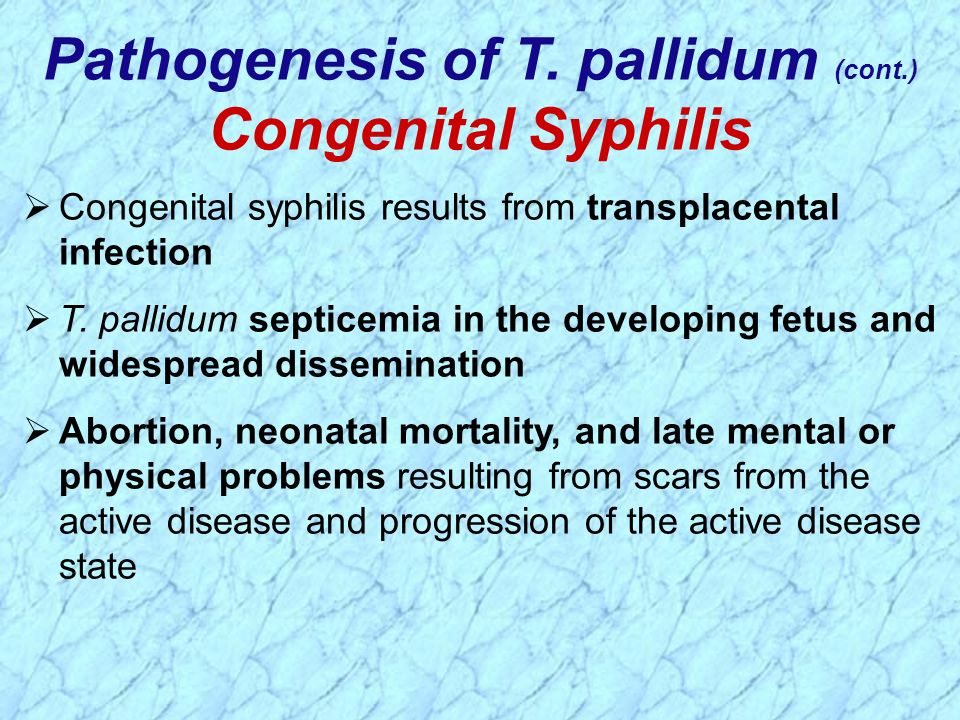 Congenital syphilis results from transplacental infection T. pallidum septicemia in the developing fetus and widespread dissemination Abortion, neonat