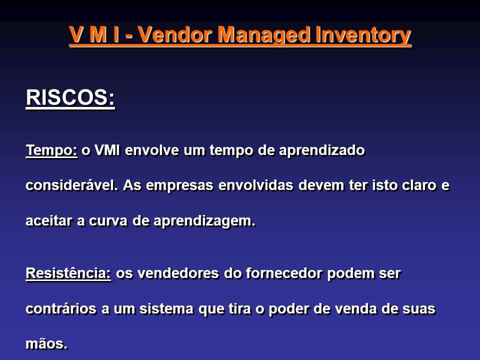 V M I - Vendor Managed Inventory RISCOS: Tempo: o VMI envolve um tempo de aprendizado considerável. As empresas envolvidas devem ter isto claro e acei