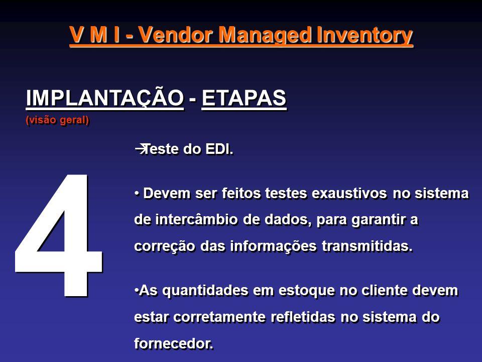 V M I - Vendor Managed Inventory IMPLANTAÇÃO - ETAPAS (visão geral) IMPLANTAÇÃO - ETAPAS (visão geral) Teste do EDI. Devem ser feitos testes exaustivo