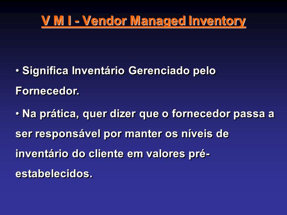 V M I - Vendor Managed Inventory Significa Inventário Gerenciado pelo Fornecedor. Na prática, quer dizer que o fornecedor passa a ser responsável por