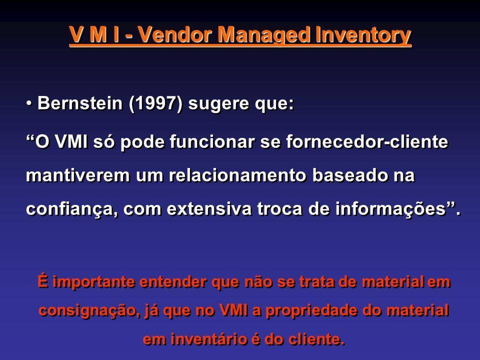 V M I - Vendor Managed Inventory Bernstein (1997) sugere que: O VMI só pode funcionar se fornecedor-cliente mantiverem um relacionamento baseado na co