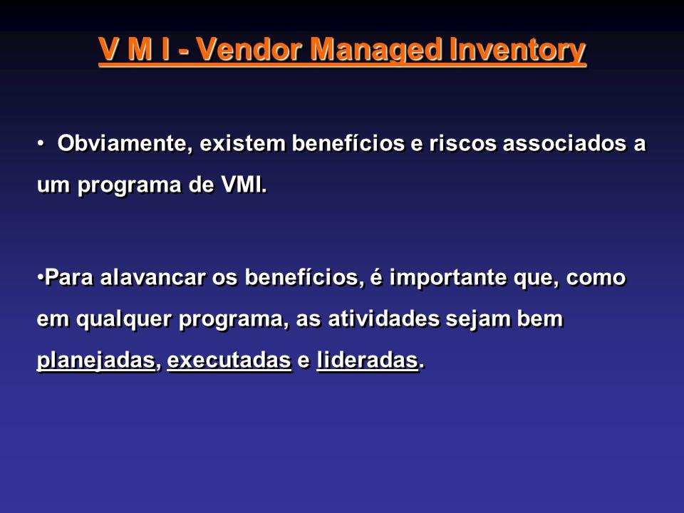 V M I - Vendor Managed Inventory Obviamente, existem benefícios e riscos associados a um programa de VMI. Para alavancar os benefícios, é importante q