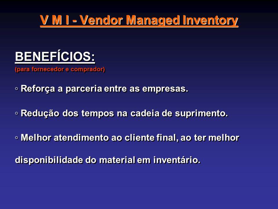 V M I - Vendor Managed Inventory BENEFÍCIOS: (para fornecedor e comprador) Reforça a parceria entre as empresas. Redução dos tempos na cadeia de supri