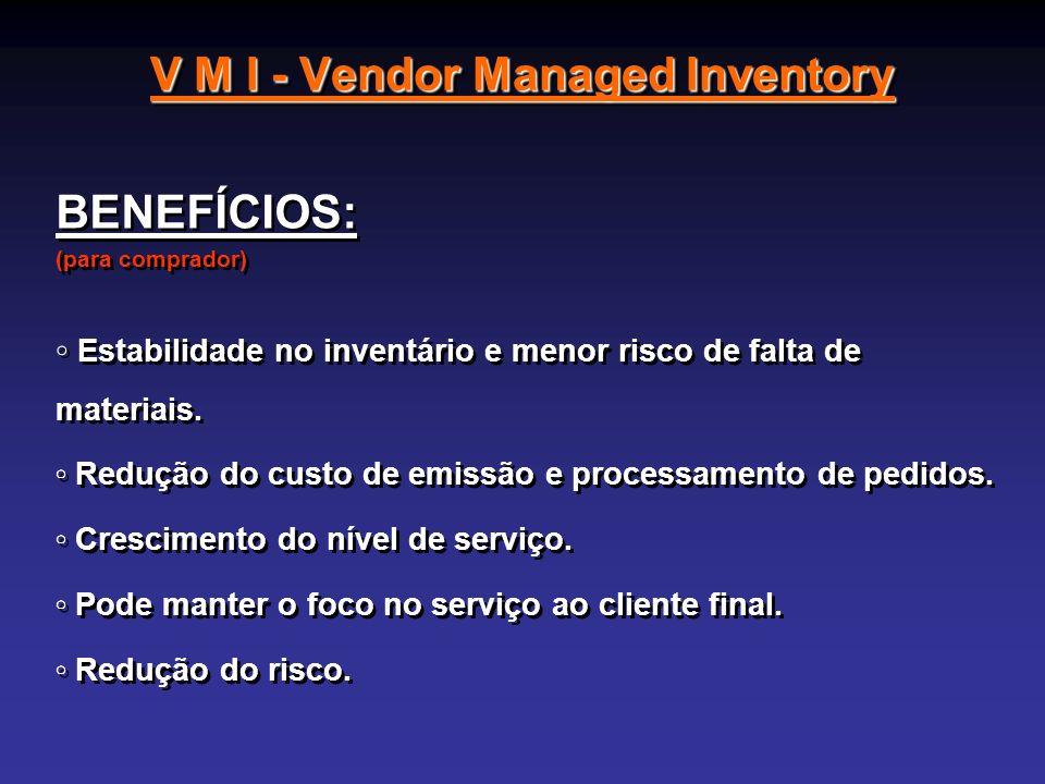 V M I - Vendor Managed Inventory BENEFÍCIOS: (para comprador) Estabilidade no inventário e menor risco de falta de materiais. Redução do custo de emis