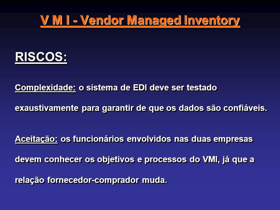 V M I - Vendor Managed Inventory RISCOS: Complexidade: o sistema de EDI deve ser testado exaustivamente para garantir de que os dados são confiáveis.