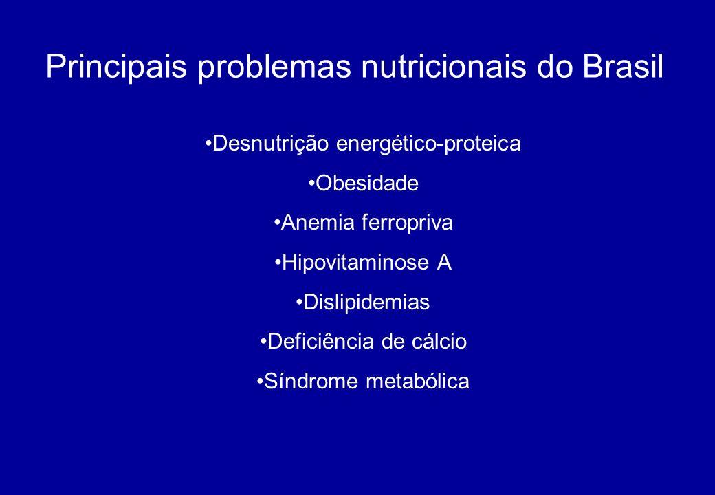 Principais problemas nutricionais do Brasil Desnutrição energético-proteica Obesidade Anemia ferropriva Hipovitaminose A Dislipidemias Deficiência de