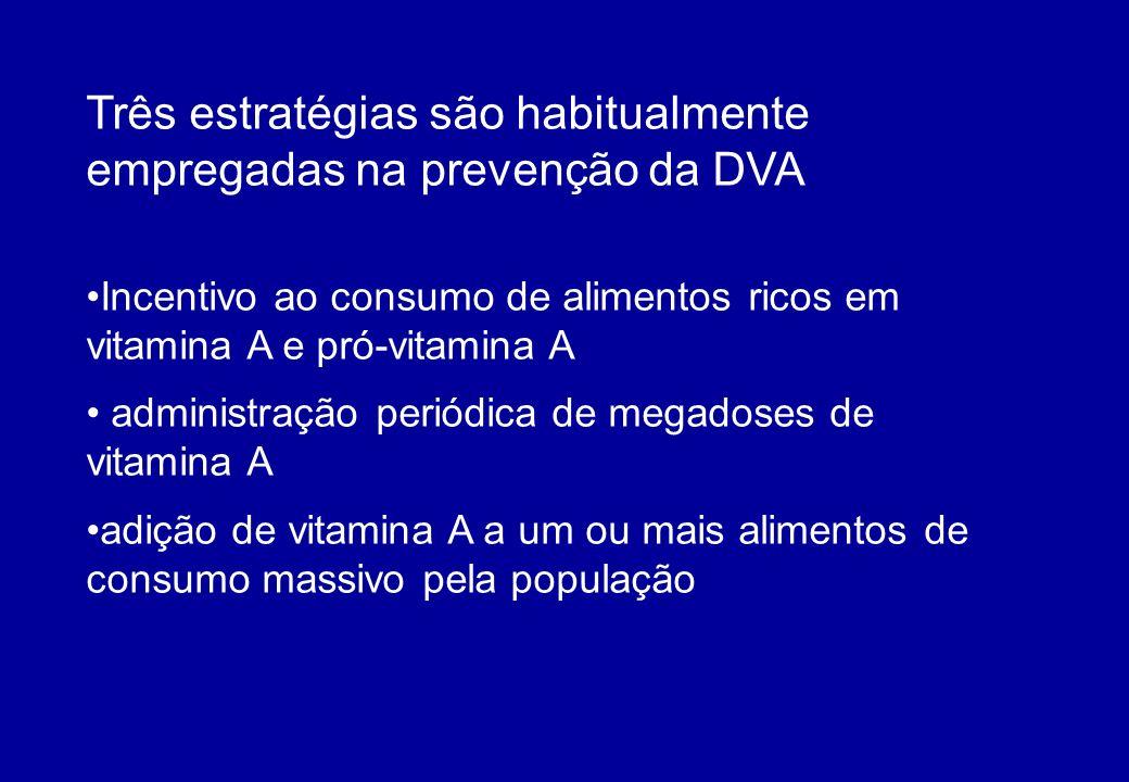 Três estratégias são habitualmente empregadas na prevenção da DVA Incentivo ao consumo de alimentos ricos em vitamina A e pró-vitamina A administração