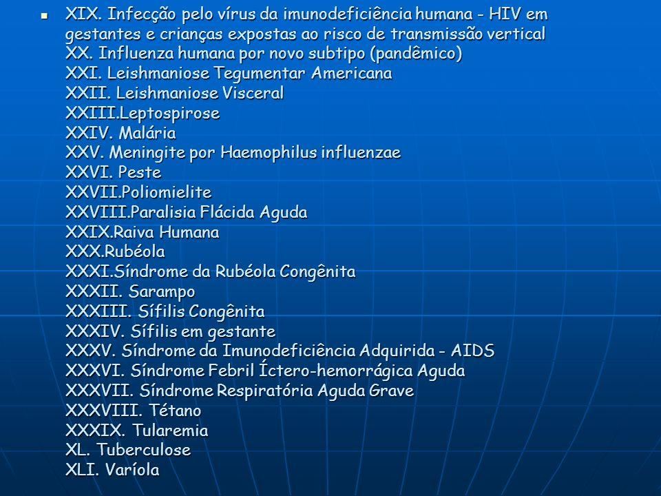 XIX. Infecção pelo vírus da imunodeficiência humana - HIV em gestantes e crianças expostas ao risco de transmissão vertical XX. Influenza humana por n