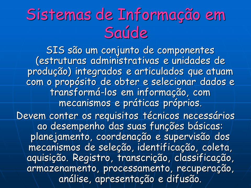 Sistemas de Informação em Saúde SIS são um conjunto de componentes (estruturas administrativas e unidades de produção) integrados e articulados que at