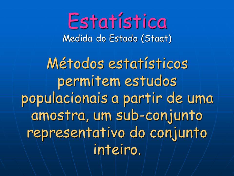 Estatística Medida do Estado (Staat) Métodos estatísticos permitem estudos populacionais a partir de uma amostra, um sub-conjunto representativo do co