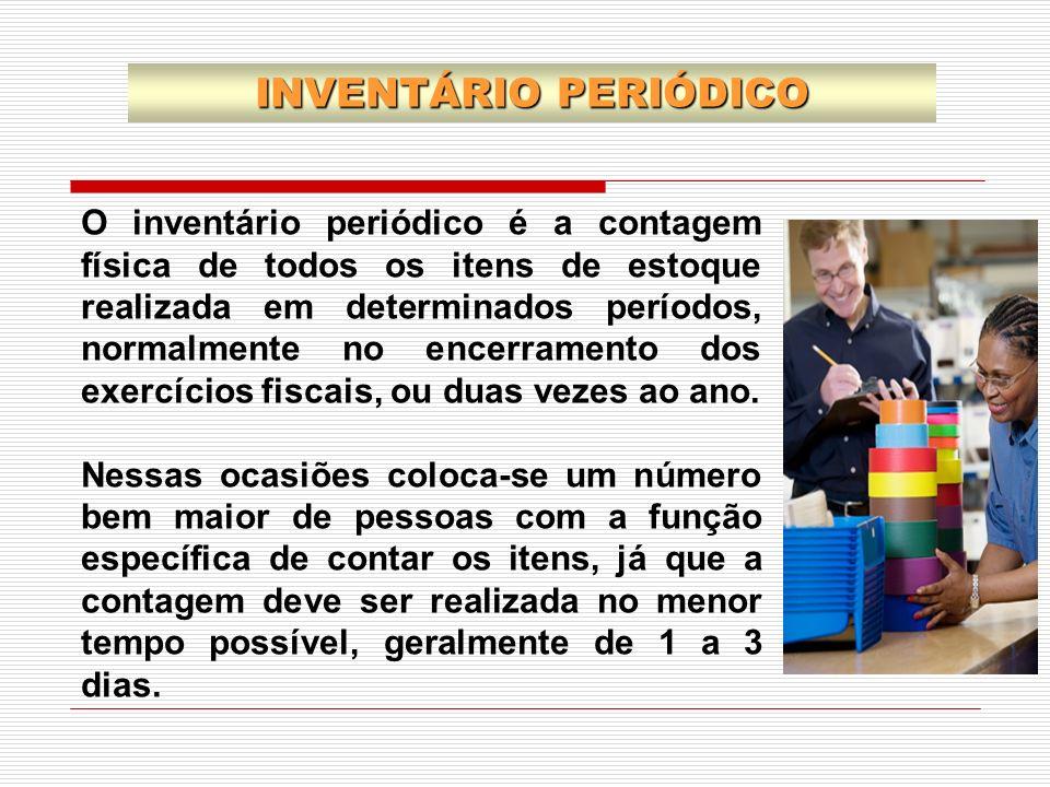 INVENTÁRIO PERIÓDICO O inventário periódico é a contagem física de todos os itens de estoque realizada em determinados períodos, normalmente no encerr