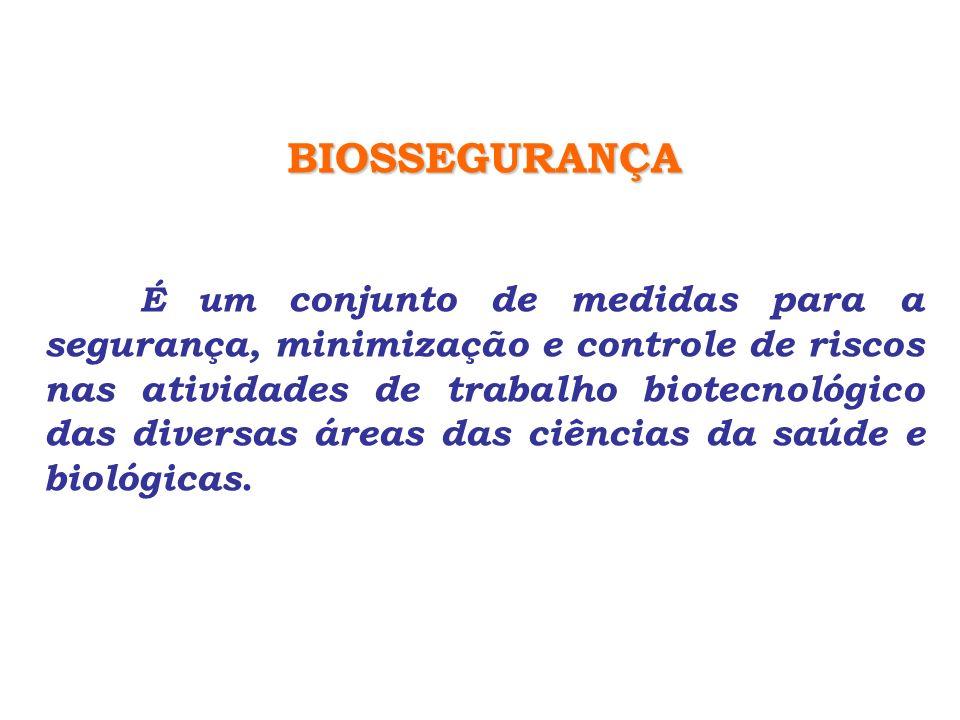 BIOSSEGURANÇA É um conjunto de medidas para a segurança, minimização e controle de riscos nas atividades de trabalho biotecnológico das diversas áreas