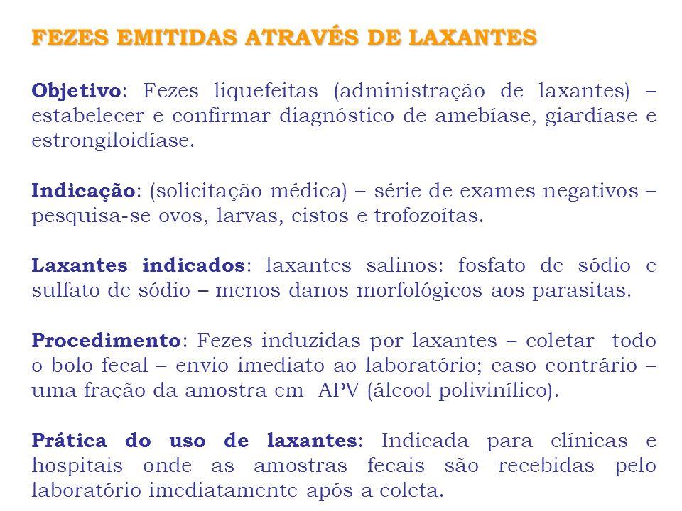 FEZES EMITIDAS ATRAVÉS DE LAXANTES Objetivo : Fezes liquefeitas (administração de laxantes) – estabelecer e confirmar diagnóstico de amebíase, giardía