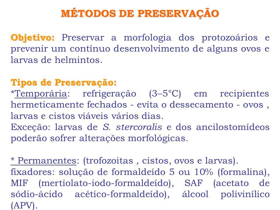 MÉTODOS DE PRESERVAÇÃO Objetivo: Objetivo: Preservar a morfologia dos protozoários e prevenir um contínuo desenvolvimento de alguns ovos e larvas de h