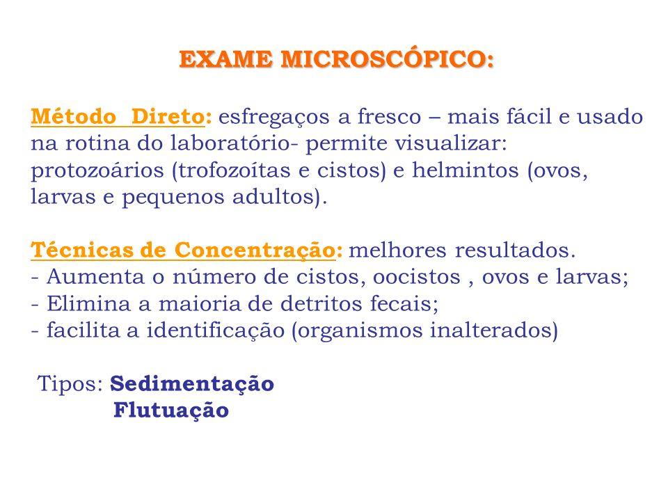 EXAME MICROSCÓPICO: Método Direto: esfregaços a fresco – mais fácil e usado na rotina do laboratório- permite visualizar: protozoários (trofozoítas e