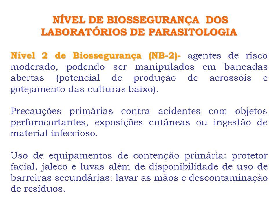 NÍVEL DE BIOSSEGURANÇA DOS LABORATÓRIOS DE PARASITOLOGIA Nível 2 de Biossegurança (NB-2)- Nível 2 de Biossegurança (NB-2)- agentes de risco moderado,